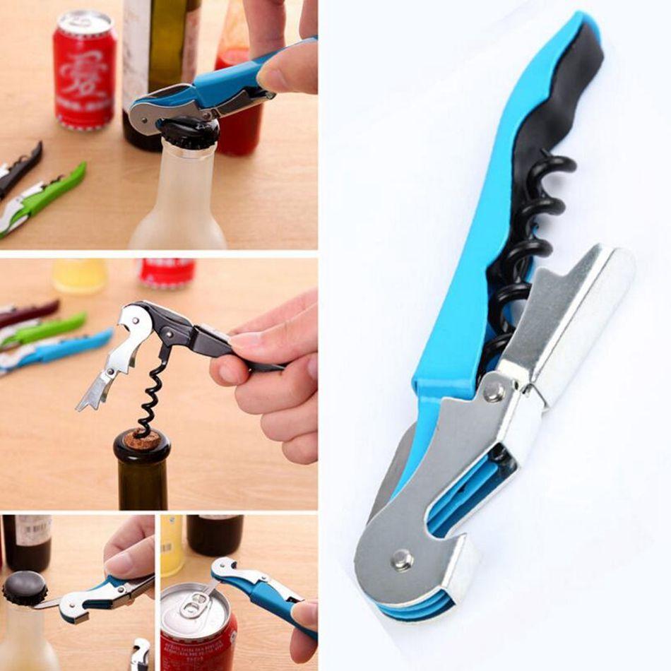 Stainless Steel Cork Screw Corkscrew MultiFunction Wine Bottle Cap Opener Double Hinge Waiters Corkscrew Wine Opener OOA4629