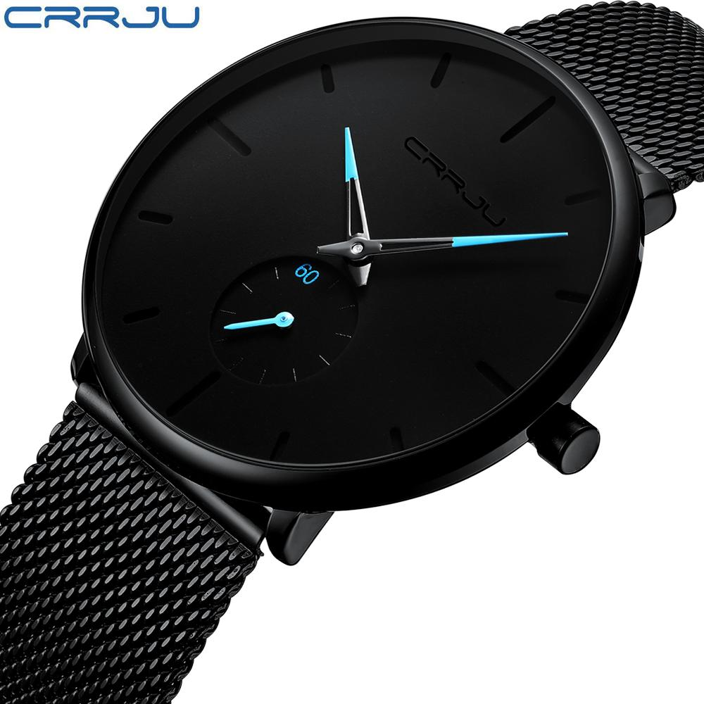 55105810c49 Crrju Fashion Mens Watches Top Brand Luxury Quartz Watch Men Casual Slim  Mesh Steel Waterproof Sport Watch Relogio Masculino Best Deal On Watches  Watches ...