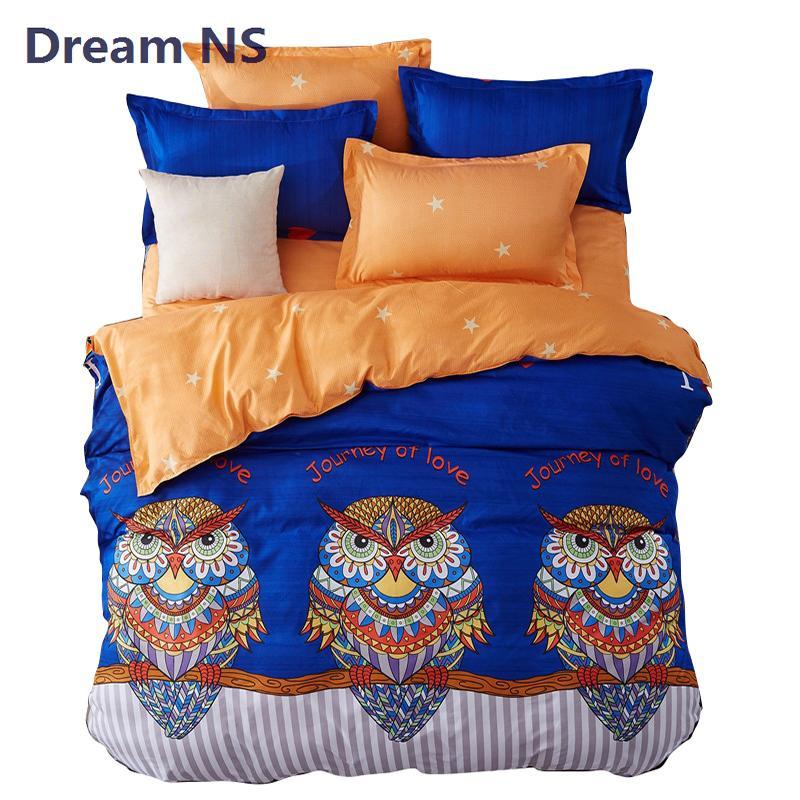 AHSNME Rainbow Owl Bedding Set Child Cartoon Bed Sets Couvre Lit