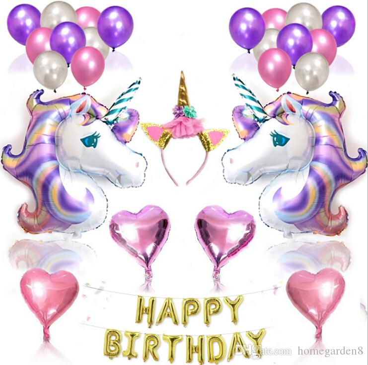 Birthday Party Decoration Balloon Unicorn Package Supplies Set Ball Combination Theme