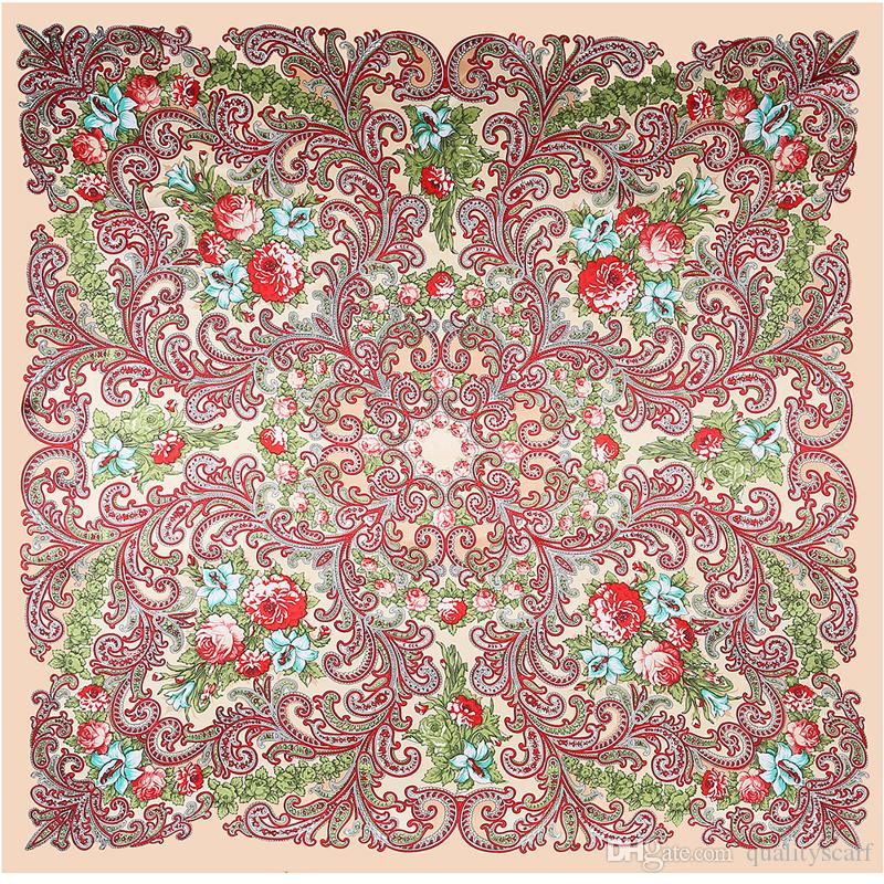 7f86217efcde Vintage Square Silk Women Floral Print Scarf Fashion Foulard Femme Paisley  Bandana Large Golden Scarfs For Ladies 90 90CM Skull Scarf Cheap Scarves  From ...