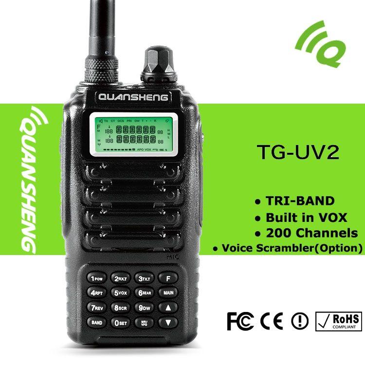 Powerfull walkie Talkie QUANSHENG TG-UV2 200 Channels Mini Multiband Dual  Standby Voice Encryption Handheld Radio Walkie Talkie