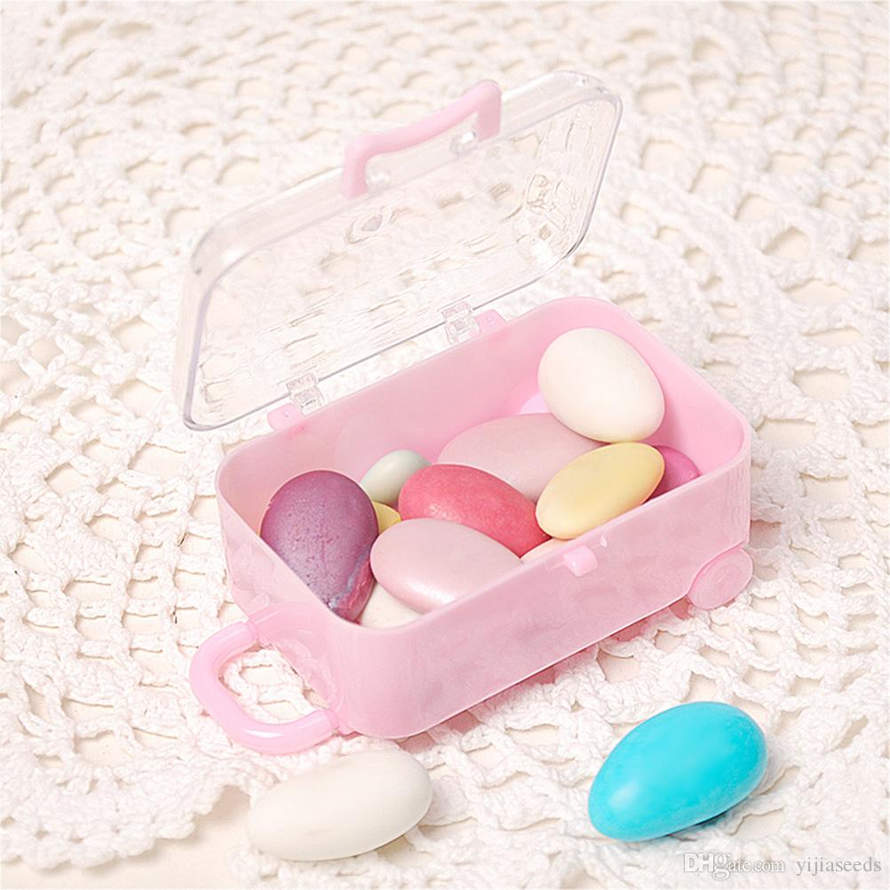 Acrylic Clear Mini Rolling Travel Suitcase Candy Box Baby Shower ...
