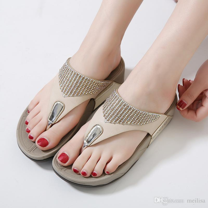2eee5ea43 SIKETU Casual Women Slippers Thong Sandals Flip Flops Summer Beach Shoes  Woman Rhinestone Comfortable Soft Thick Bottom Heels 1290 1 Knee High  Gladiator ...