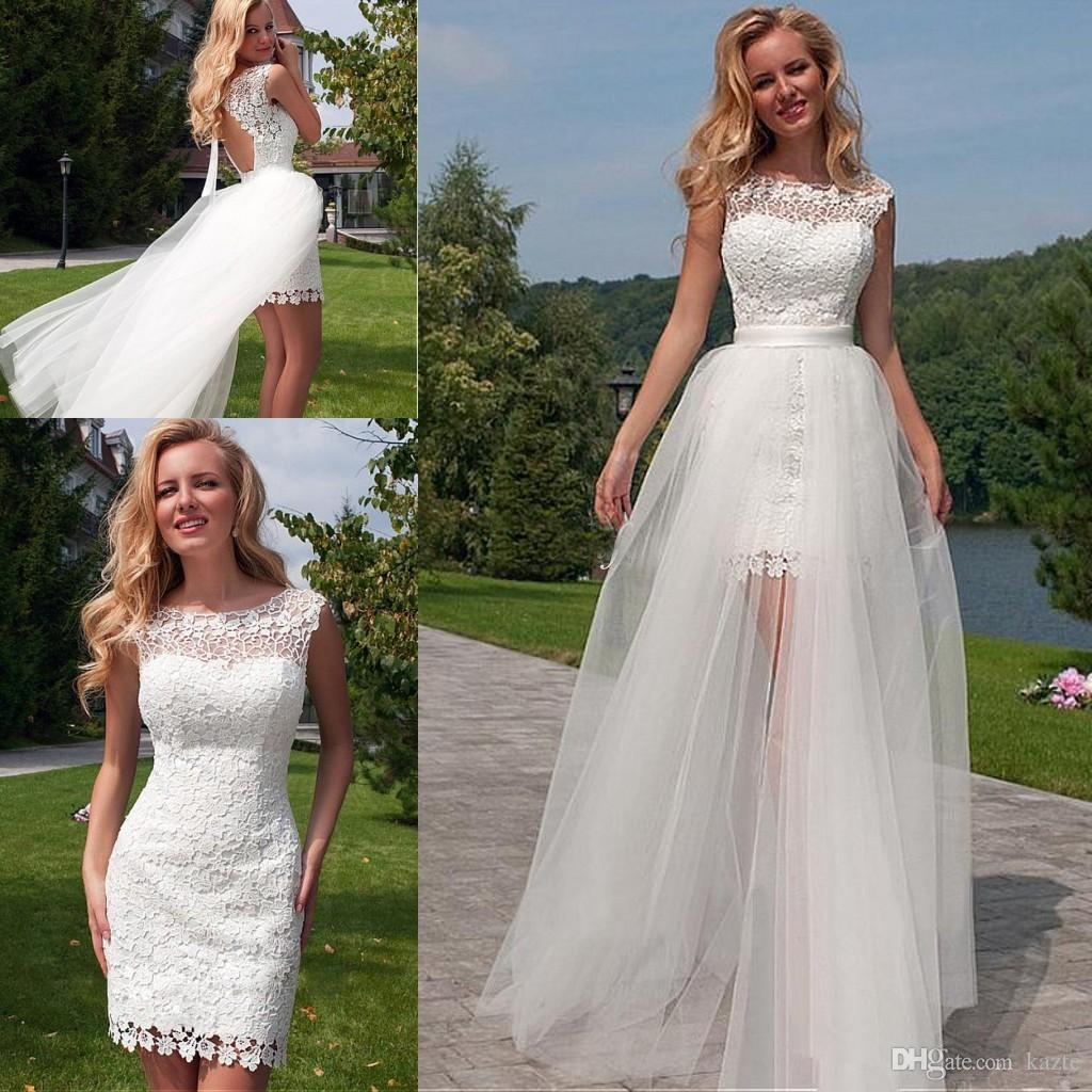 323a5cb610 Discount Beach Short Wedding Dresses With Detachable Skirt 2018 Full Lace  Tulle Jewel High Low Keyhole Back Summer Holiday Bridal Dress Cheap Online  Wedding ...