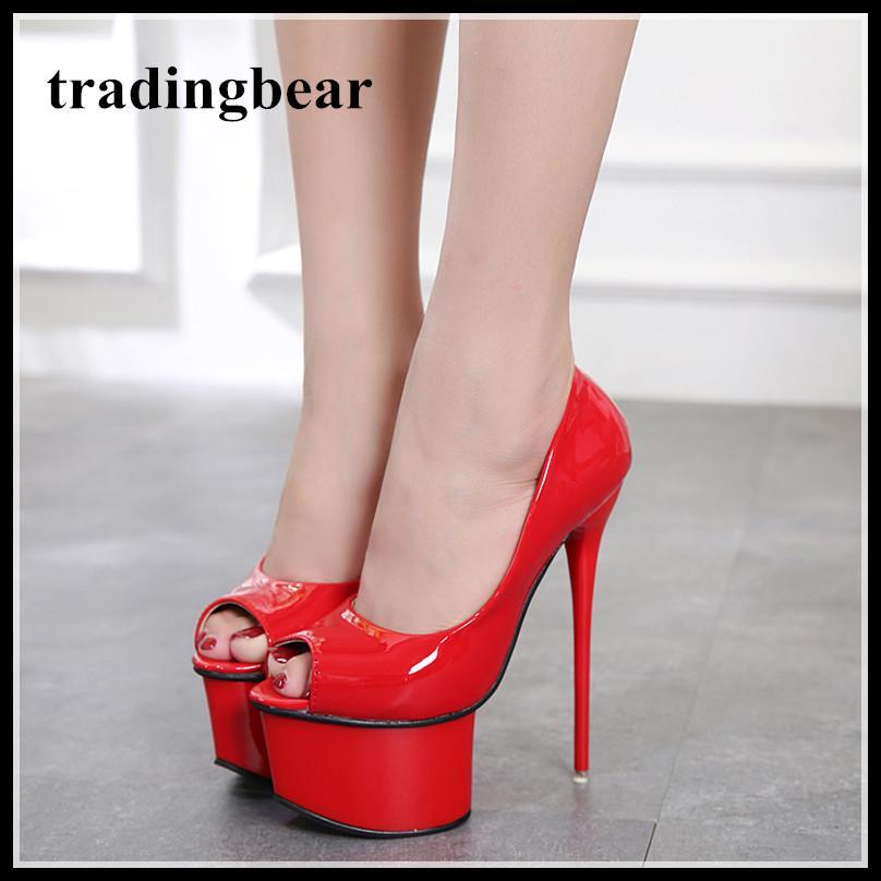 6f5a75a1a3419 Acheter 16 Cm Designer Femmes Talons Chaussures De Mariage Rouge Chaussures  Luxe Noir Brevet PU PU Pompes En Cuir Taille 34 À 40 De  31.15 Du  Tradingbear ...