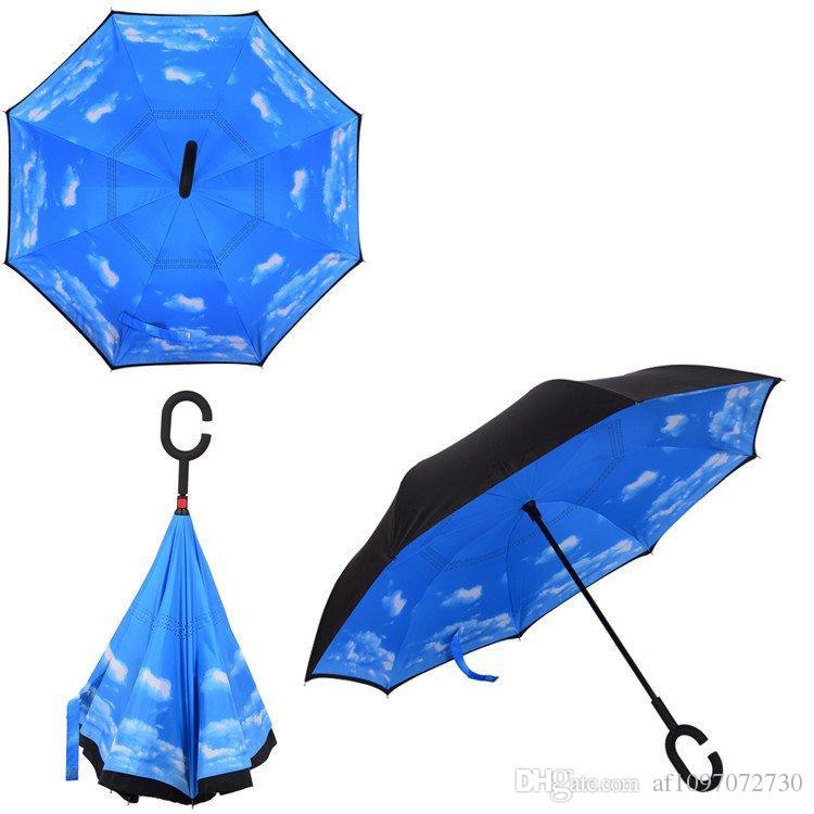 Coupe-vent arrière Umbrella Nouveau design 82 Couleurs Double couche Inverted parapluies C poignée parapluies pour client Logo voiture imprimable