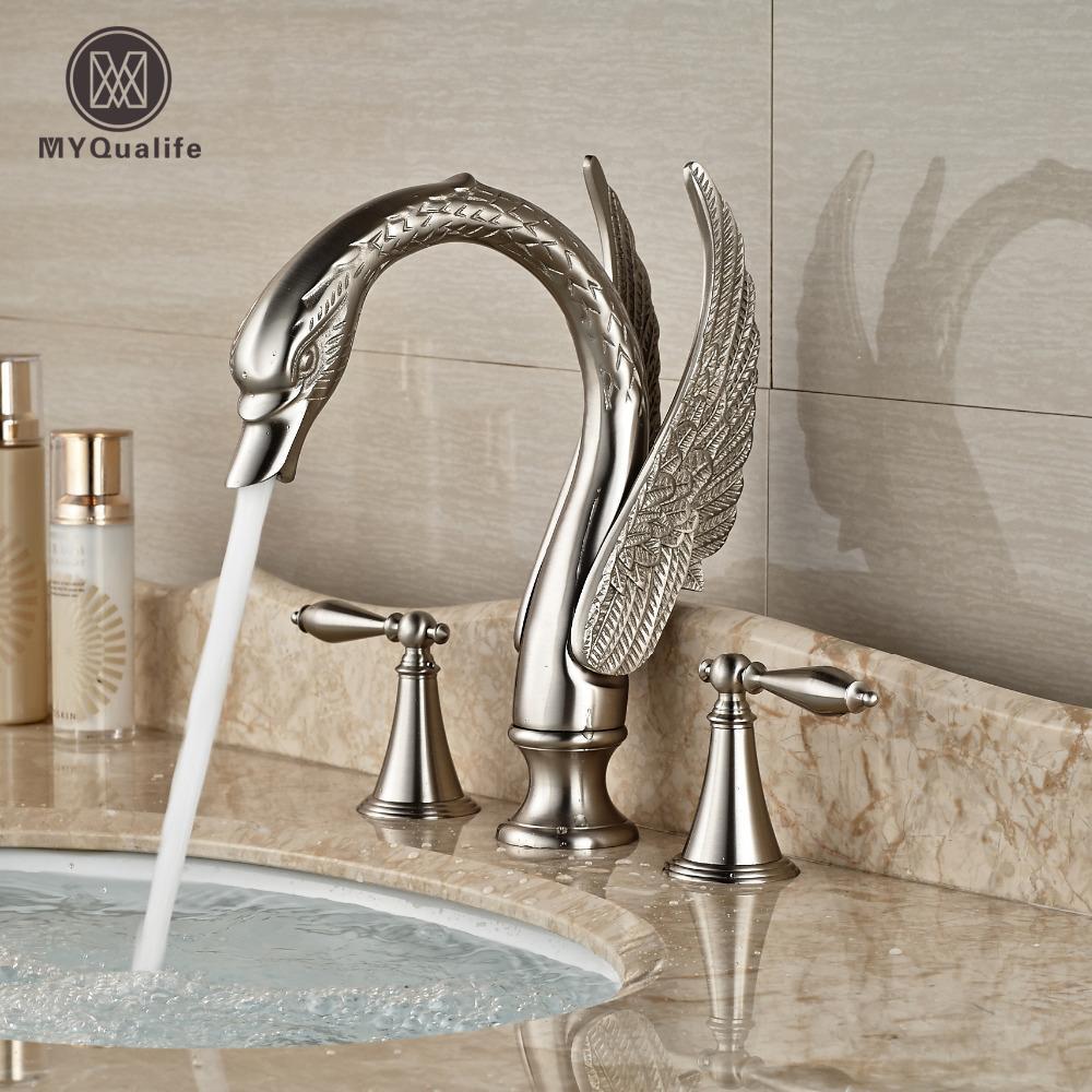 2018 Luxury Nickel Brushed Swan Bathroom Sink Faucet Deck Mount Dual Handle  Mixer Tap Widespread 3 Holes From Shuishu, $210.22 | Dhgate.Com