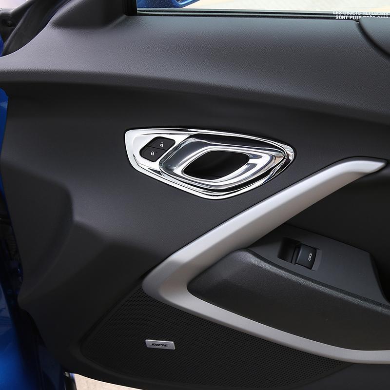 Cubierta de la decoración del marco de la puerta del tirador del coche pegatina ABS para chevrolet camaro 2017 + camaro auto interior accesorios