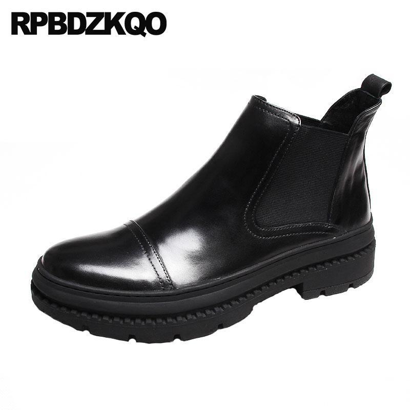7419fae72837f Compre Zapatos De Plataforma Con Suela Alta Para Hombres Botas De Piel De  Invierno Calidad Chelsea De Grano Completo Con Cordones En Negro Tobillo  Grueso De ...