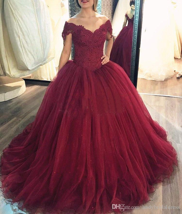 Abiti da sera rosso scuro Abiti Quinceanera Off Lace Lace Tulle Plus Size Borgogna Prom Dresses Sweet 16 Gowns Lace Up