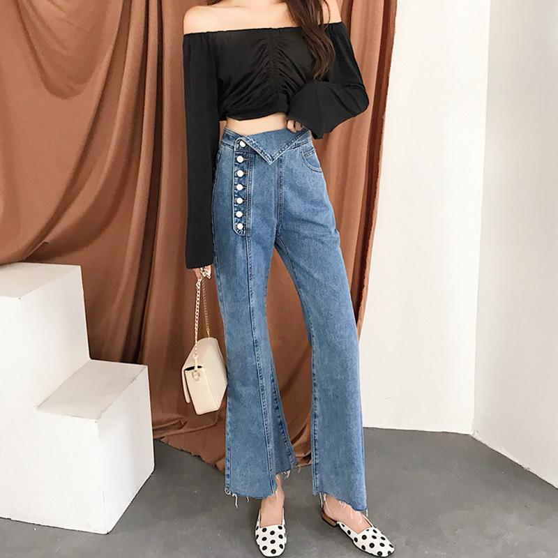 Vintage High Waisted Flare Jeans Bell Bottoms Jeans For Women Wide Leg Denim Pants Irregular Side Breasted Button Petite