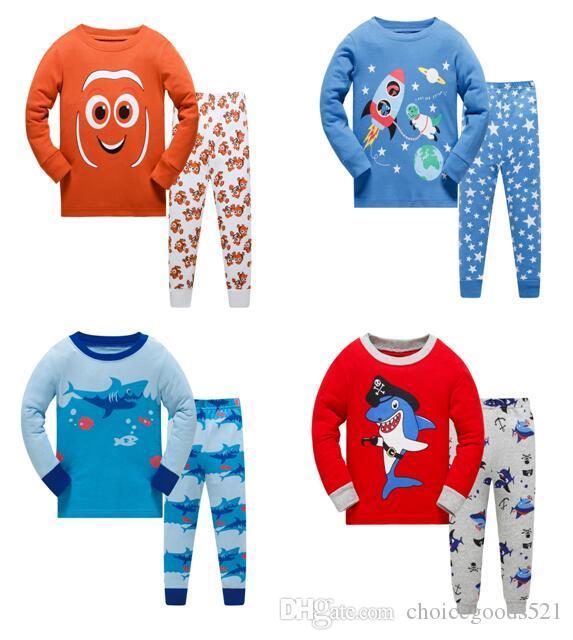 5d2899833668 Kids Pajamas Boys Underwater World Sleepwear Kids Pajamas Top+Pants ...