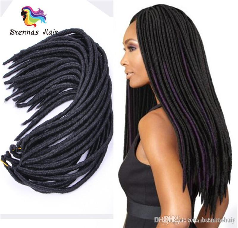 Star Style Soft Dreadlocks twist Hair Extensions Crochet Braids 18inch 24roots Synthetic faux locs Braiding Hair for African American Women