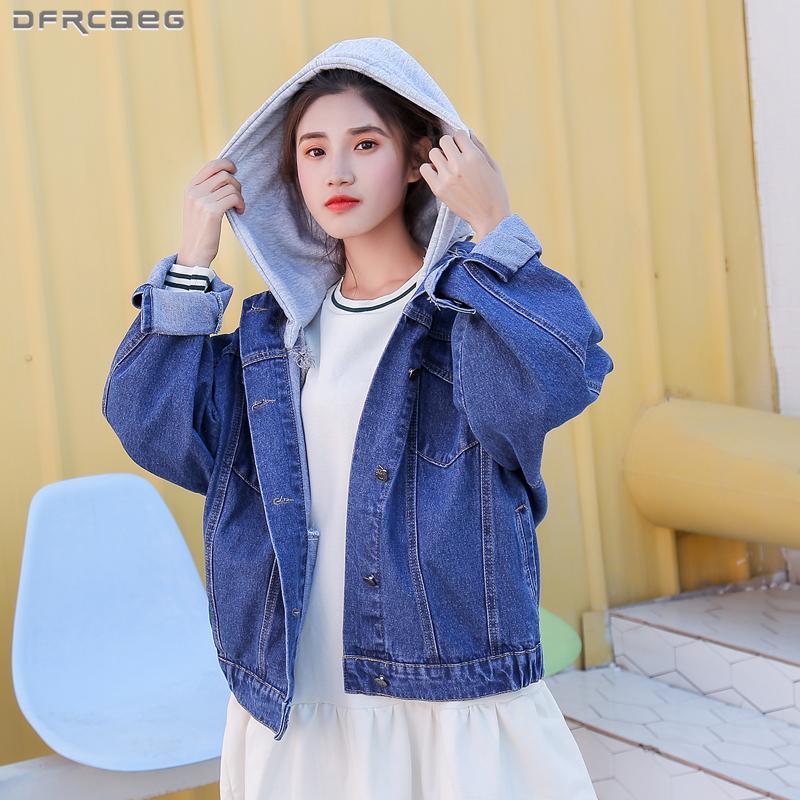 check out 254d8 e0281 Korean Style Boyfriend Jeansjacke Frau 2018 Herbst Langarm Hoodies Casaco  Feminino Streetwear Damen Mäntel Jaqueta Jeans