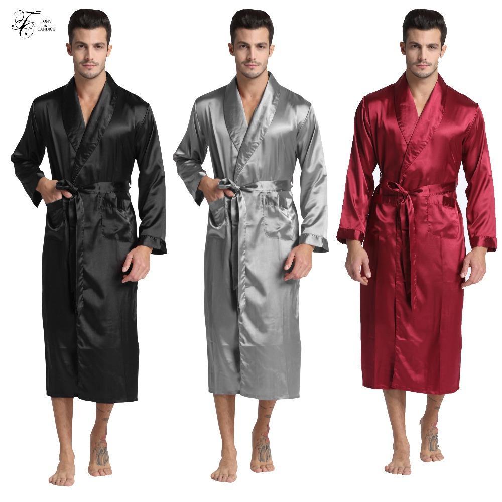 17f653099ae6c8 TonyCandice homens de cetim de seda roupão de banho Robe Longo Sólidos  Pijamas De Seda Dos Homens Camisola Sleepwear kimono homme Roupão