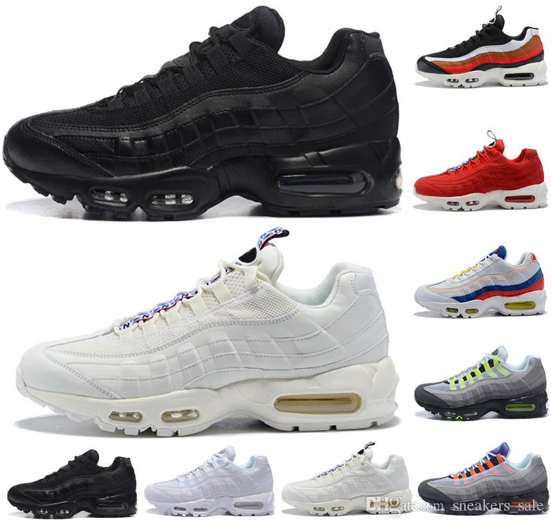 2c47a58c92a5 Hot Sale 95 95s SE Men Women Basketball Shoes TT Triple Black White ...