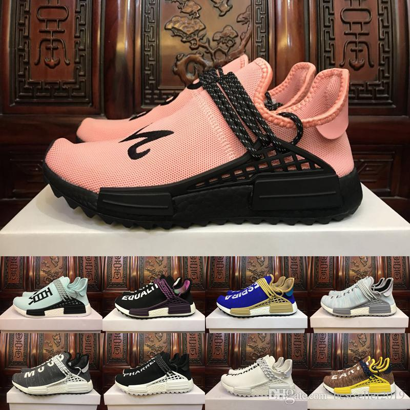 4bfc777e50c17 2018 New Human Race Pharrell Williams X Running Shoes Holi Equality Blank  Canvas Core Black Sun Glow Yellow Trainers Sports Sneakers 5 11 Best Trail  Running ...