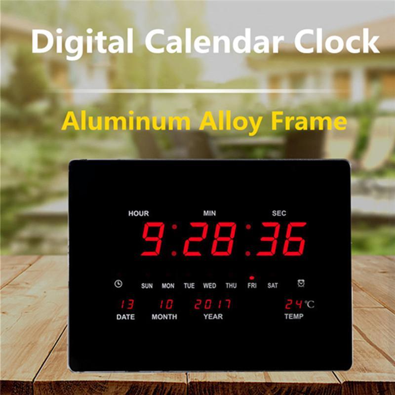 8fb393bd70b3 Compre Gran LED Reloj De Pared Digital Conector De La UE Potencia Cristal  Calendario Electrónico Reloj Despertador Digital Escritorio Despertador A   55.89 ...