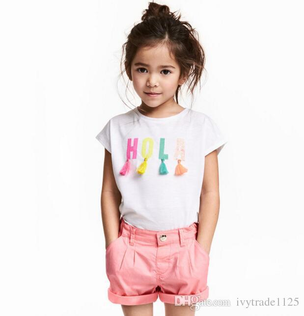 2018 NEW ARRIVAL girl Kids 100% Cotton Short Sleeve letter tassel print T shirt girls causal summer t shirt