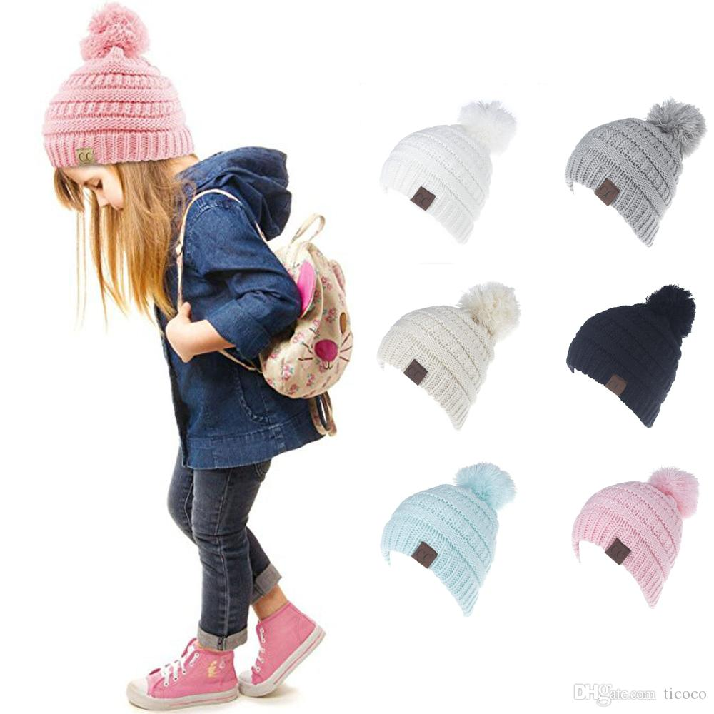 77cffbad7db 2019 Fashion CC Winter Warm Beanie 6 Candy Colors Knitted Chunky Skull Caps  Slouchy Crochet Hats For Children From Ticoco