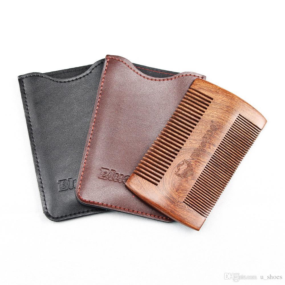 Pulvérisation noire peinte peinte bois de poire bluezoo double face barbe portable résistant à l'électricité statique brosses de barbe en bois