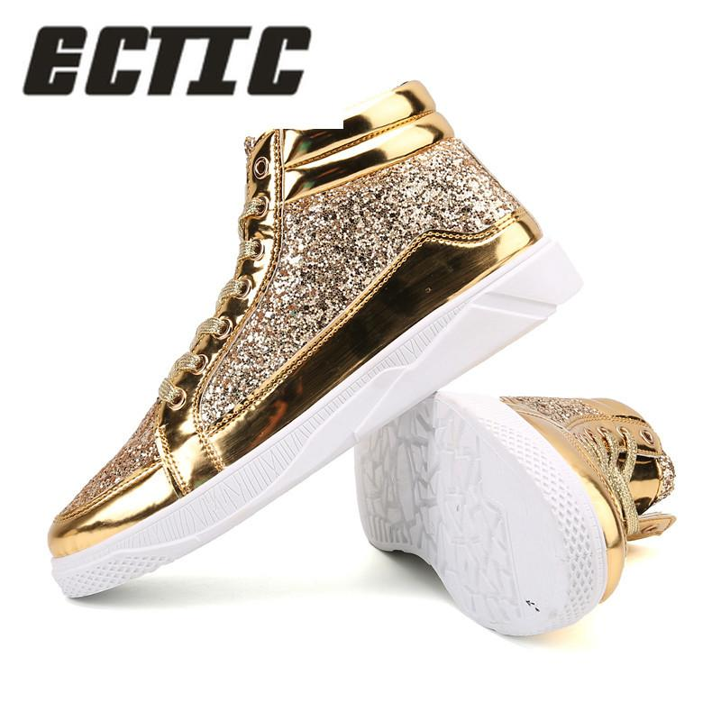 ECTIC 2018 Men Hip Hop Dancing Sneakers Flats Shoes Spring Gold Silver  Bling Rhinestone Lace Up Male Casual Ankle Boots DP 164 Over Knee Boots  Boots For ... 2ff8517bae8a