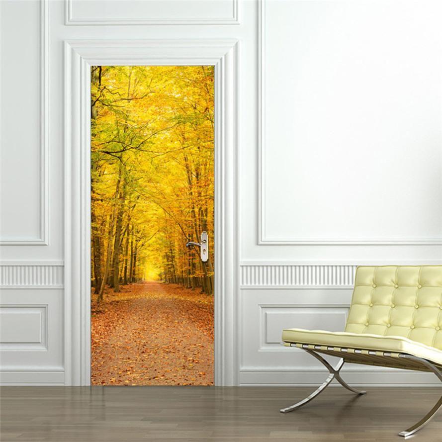 Wholesale 3d Removable Autumn Leaves Door Sticker Vinyl Art Mural ...