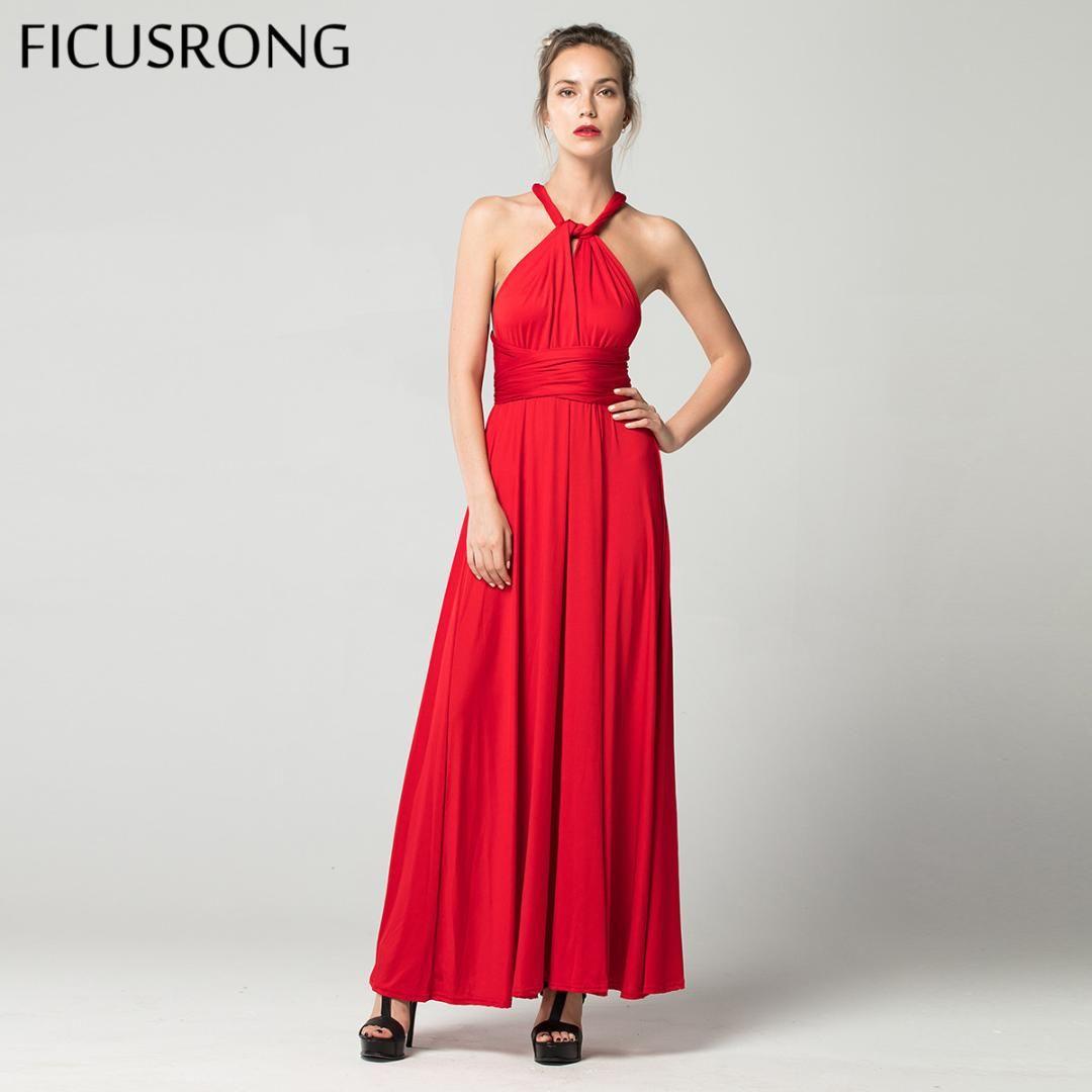 bb33844881 Compre FICUSRONG Sexy Vestido Largo Dama De Honor Formal Multi Wrap  Convertible Infinito Vestido Maxi Rojo Hueco Hacia Fuera Partido Vendaje  Vestidos A ...