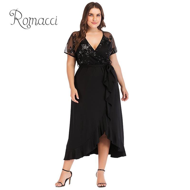 c0d535e92bb78 Romacci Sexy Women XXXL Plus Size Dress Sequined Sheer Mesh V Neck Short  Sleeve Black Summer Dress 2018 Ruffled Irregular Party Dresses Gold Cute  Red Party ...