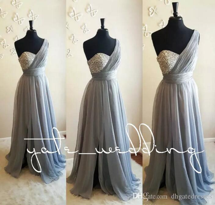 030cc7631381d Silver Gray One Shoulder Bridesmaid Dresses Crystal Beaded Pleated ...