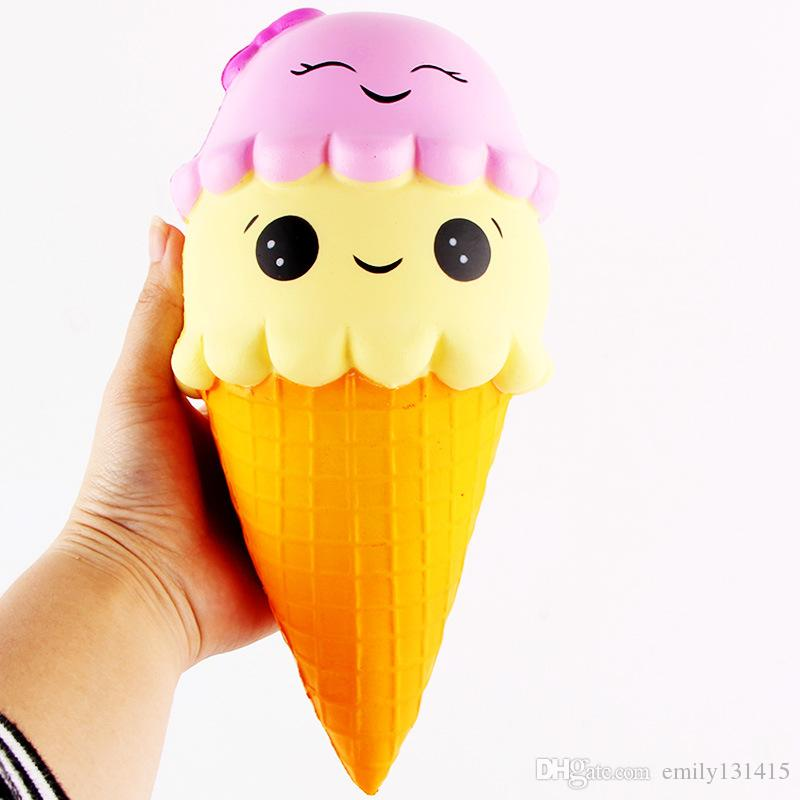 22cm Spicy Cute Slow Rising Simulation Relaxation Smiley Icecream Sqsuishy Decompression Vent Icecream Kids Toys FD004