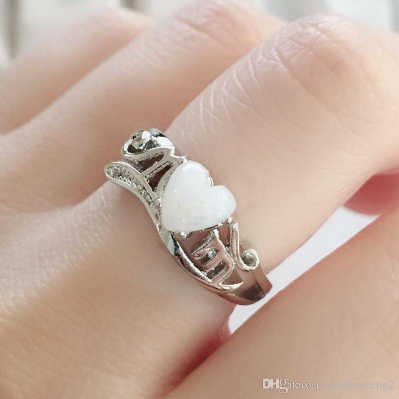 우아한 모양 크라운 다이아몬드 반지 쥬얼리 크리스탈 오픈 반지 여성을위한 좋은 선물 어머니의 날 무료 배송