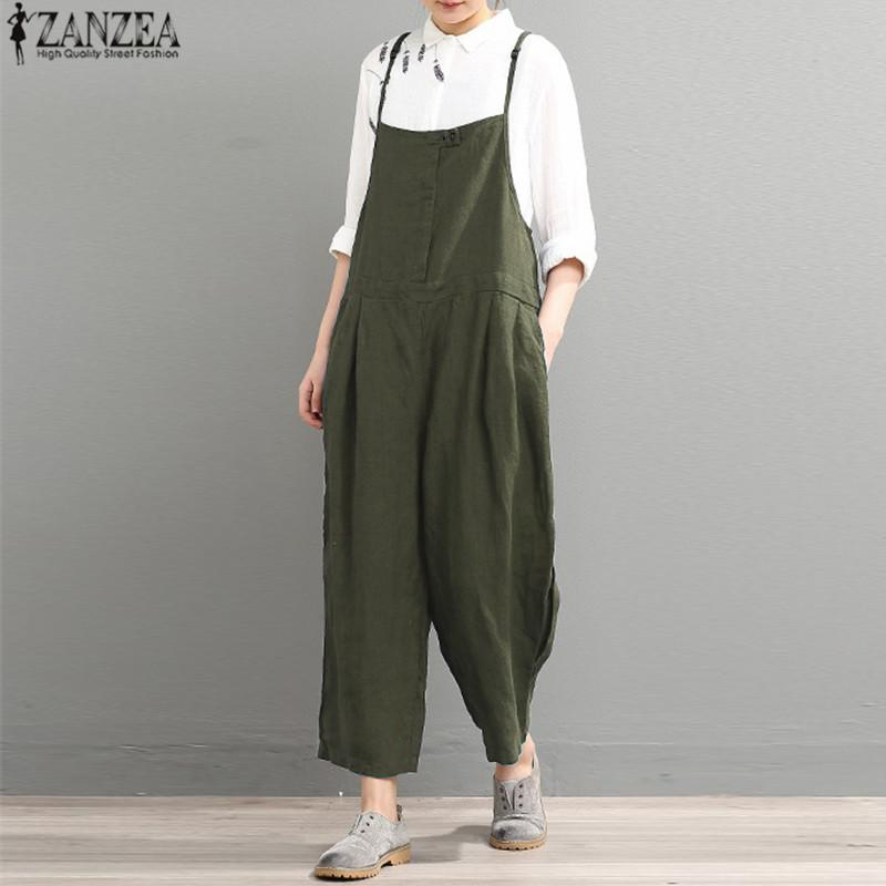 04b9c8989aa41 Plus Size 2018 ZANZEA Women Rompers Summer Casual Strappy Solid Long Harem  Jumpsuits Loose Work Dungarees Vintage Bib Overalls Online with   42.89 Piece on ...