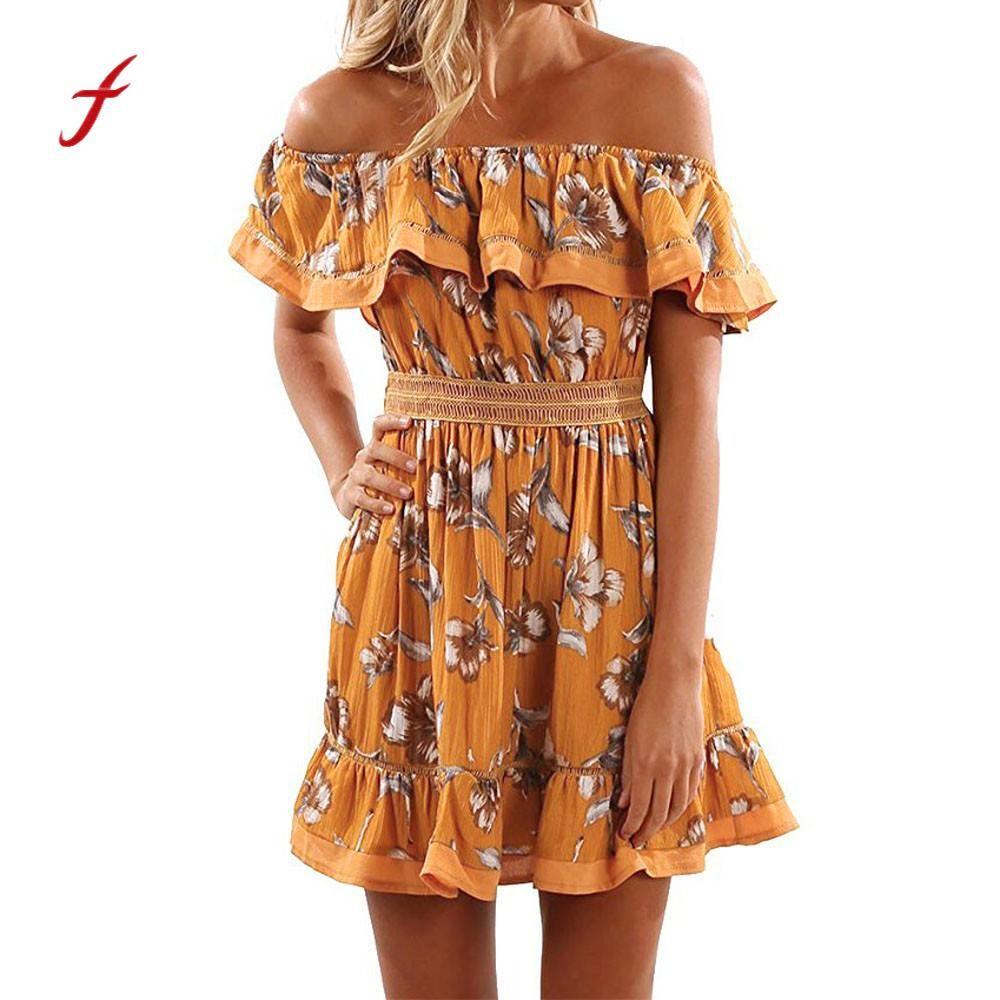 c6ec3481036 2019 Feitong 2018 Summer Sexy Beach Dress Women Off Shoulder Mini Dresses  Ladies Floral Slim Waist Casual Dress From Guchen3