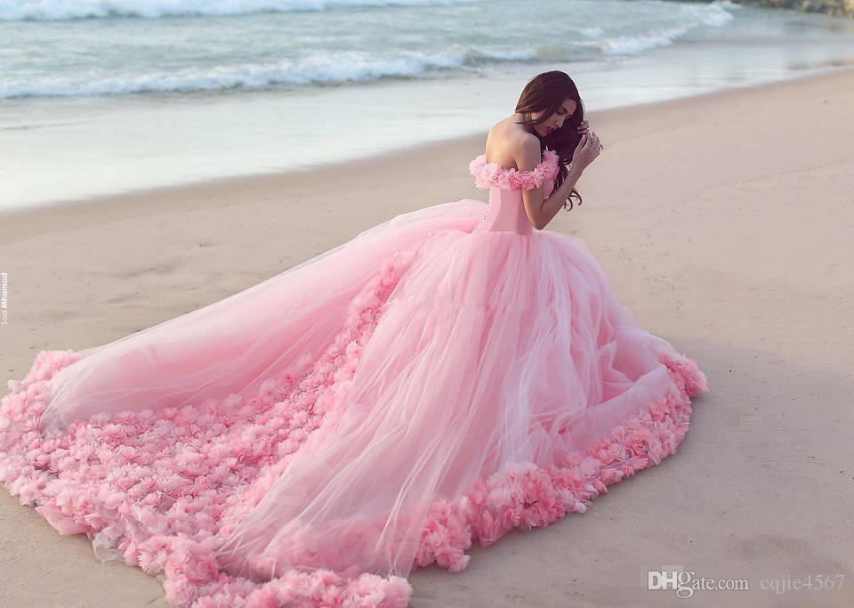 2019 New Puffy Pink Quinceanera Gowns Princess Cinderella Formal Long Ball Gown Bridal Wedding Dresses Chapel Train Off Shoulder 3D Flowers