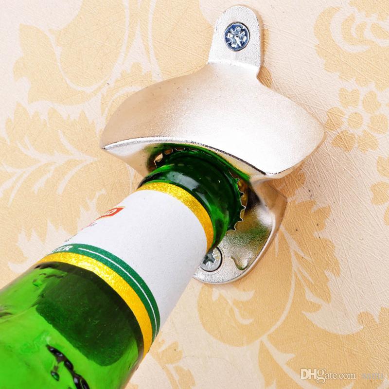 Mode Hot Edelstahl Wandhalterung Bar Bier Soda Glas Cap Flaschenöffner Küche Werkzeug