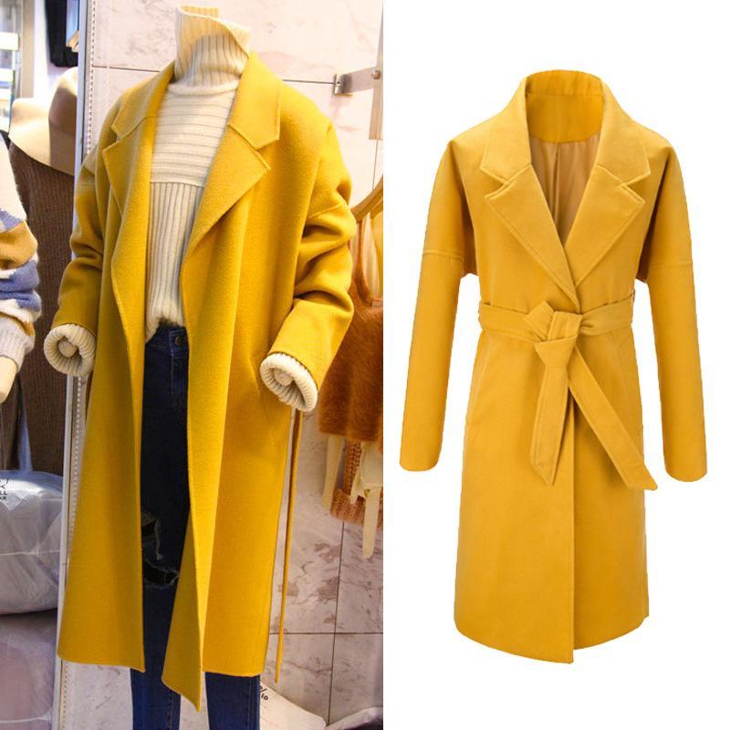 online retailer 95168 37600 Gelbe Frauen Wollmischung Mantel Patchwork Cashmere Jacke Schärpen Damen  Mäntel