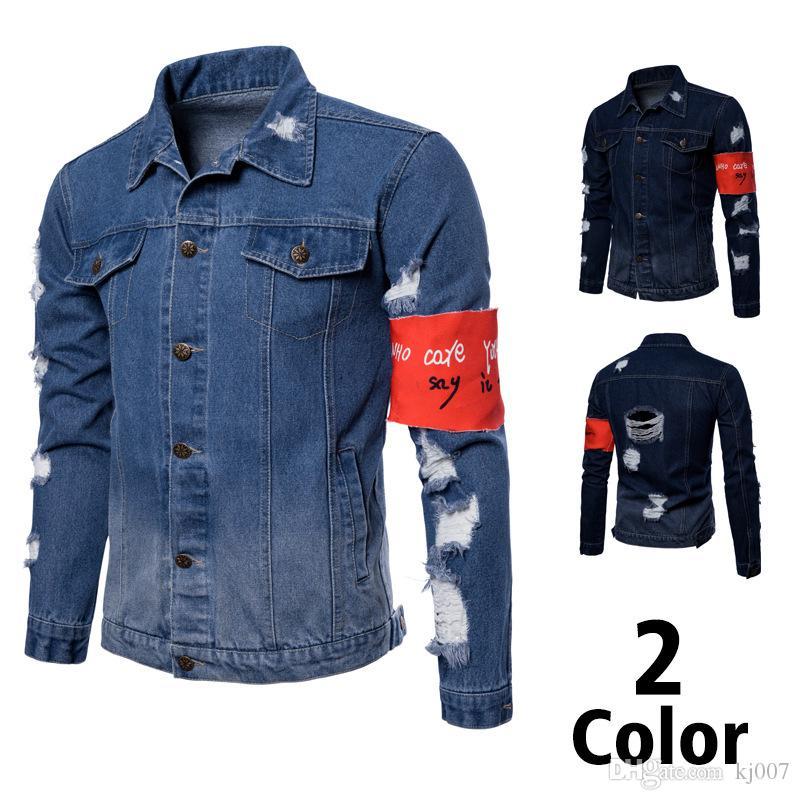 low priced dfce3 2c44f Giacche di jeans primaverili e autunnali nuove giacche da uomo di moda  casual jeans denim taglia europea magro buco rosso epaule giacca di jeans  ...