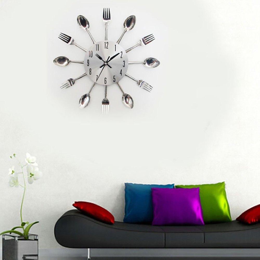 3d Digital Stainless Steel Knife Fork Modern Design Wall Clock Large ...