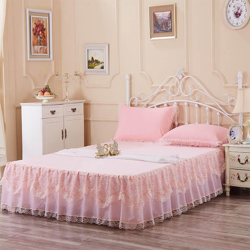 Romantic Bed Skirt Lace Bed Covers Queen Bedspread Set Pink Skirt ...