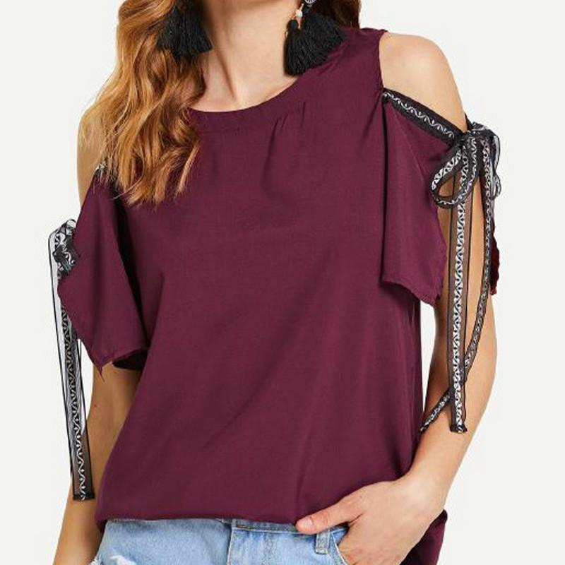 f663594b0a5912 2019 Women Summer Chiffon Tops New Casual Sexy Half Sleeve Lace Tie Knot  Bowknot Back Split Shirts Off Shoulder Blouses From Feeling02