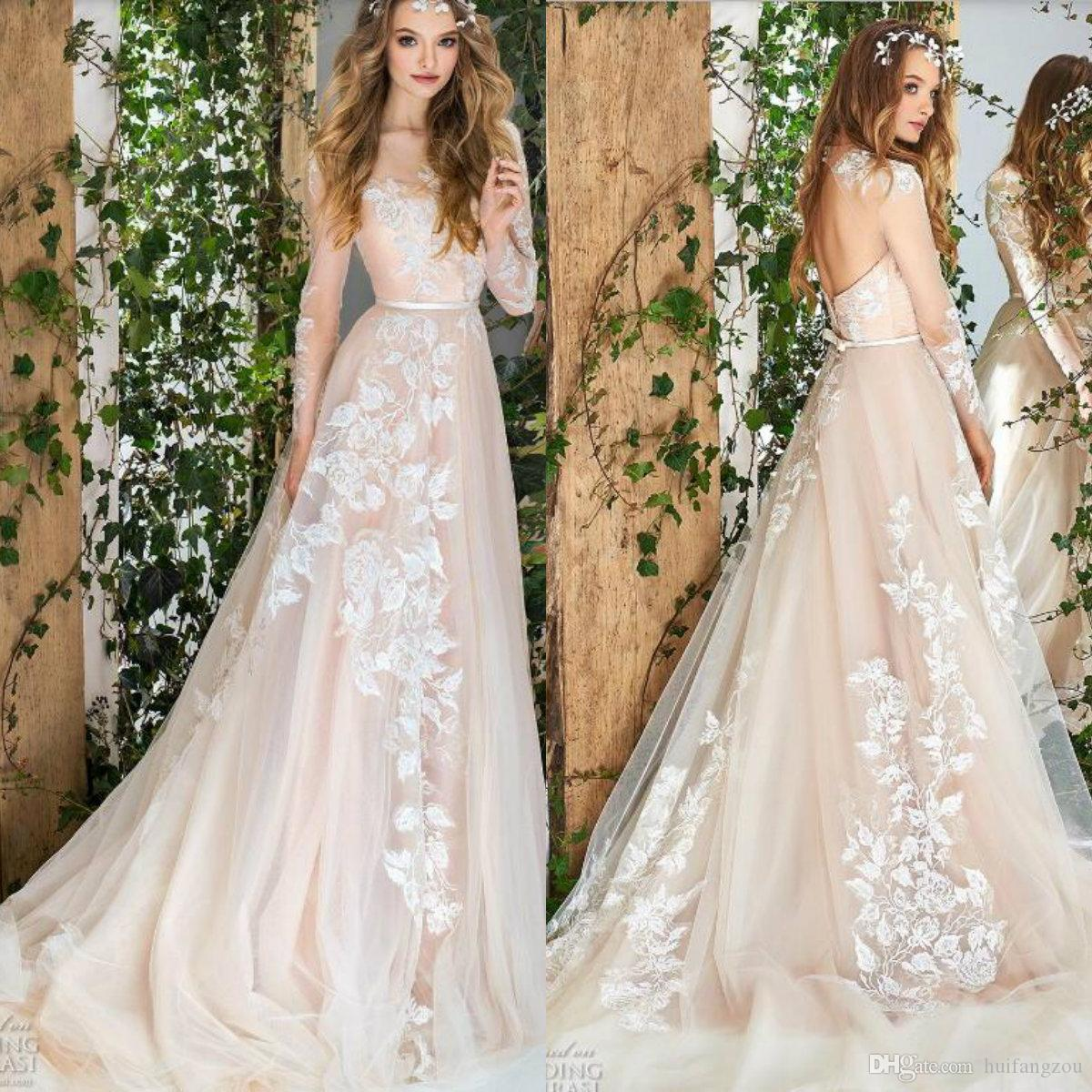 d9dd2263061 Discount Papilio 2018 Light Champagne Wedding Dress Sexy Sheer Neck  Backless Long Sleeves Tulle Bridal Gowns Elegant Beach Wedding Dresses  Cheap Gowns Cheap ...