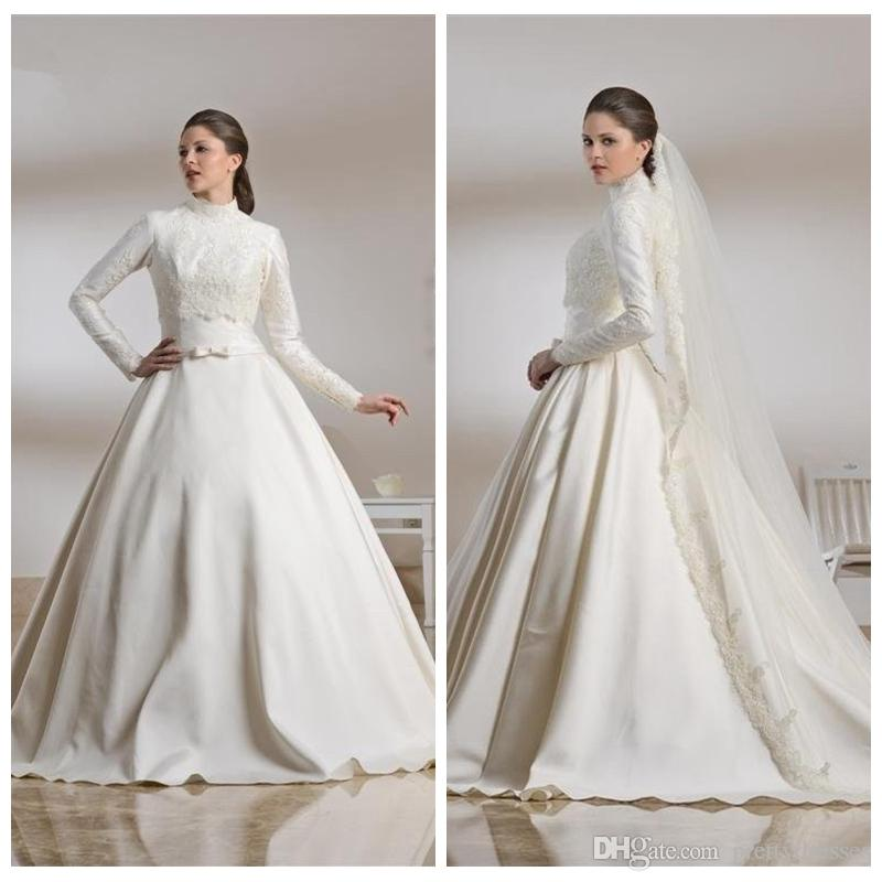 3da9f238f6e7 Discount Elegant Muslim 2019 Satin Wedding Dresses Lace Appliques Bridal  Gowns Middle East Garden Vestidos De Marriage Garden Modesty Wedding Gown  Online ...