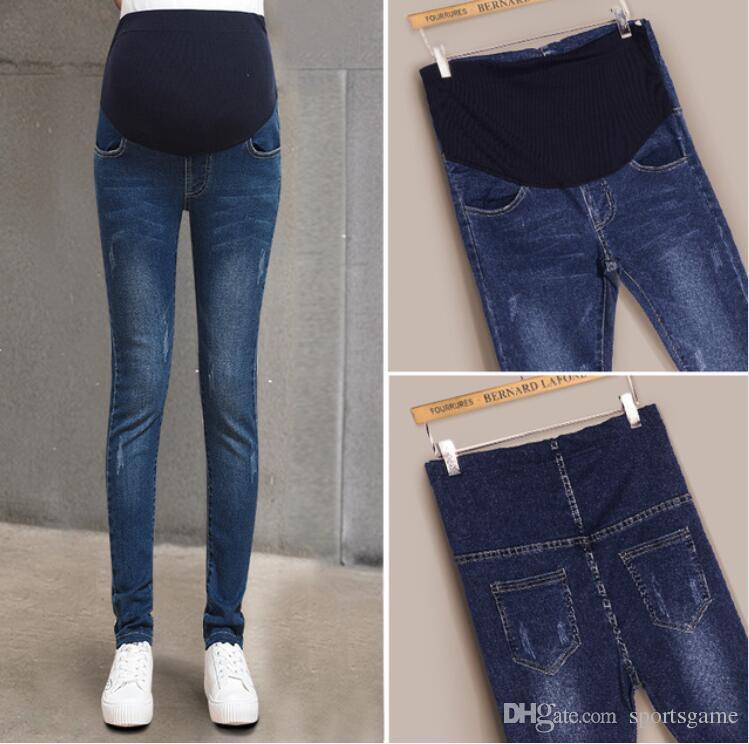 3e2f0c62e Compre Mamá Denim Pantalones Generales Grossesse Mujer Jeans Lápiz  Embarazada Prop Pantalones Ropa Para Maternidad Ropa Más El Tamaño De La Embarazada  A ...