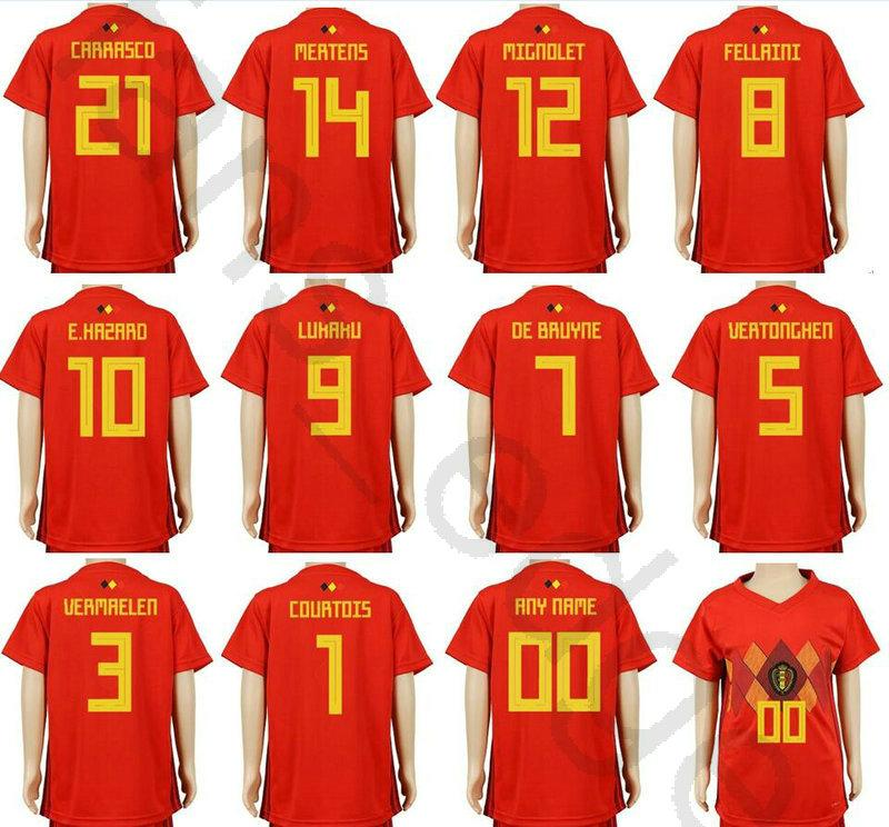 2019 Kids Belgium Soccer Jerseys 10 E.HAZARD 9 LUKAKU FELLAINI 7 DE BRUYNE  MIRALLAS COURTOIS MERTENS Home Red Custom Youth Boys Football Shirts From  ... fb499aaf9