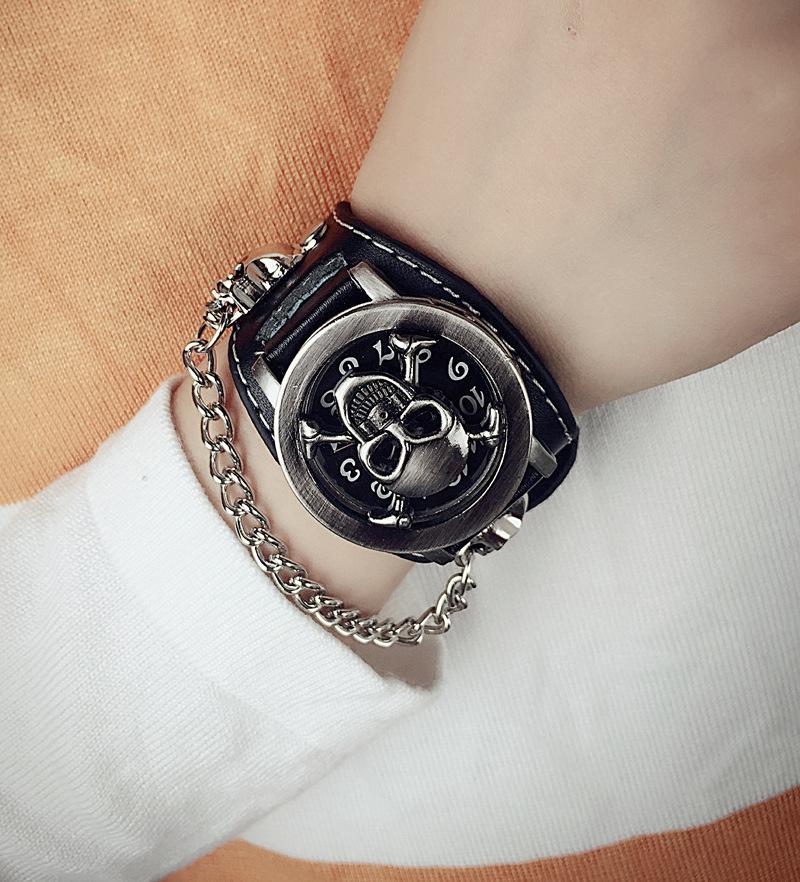 cover stereoscopic hollow Black Punk Rock Chain Skull Skeleton Watches Men Women Bracelet Cuff Gothic Wrist Watch Fashion leather wristwatch