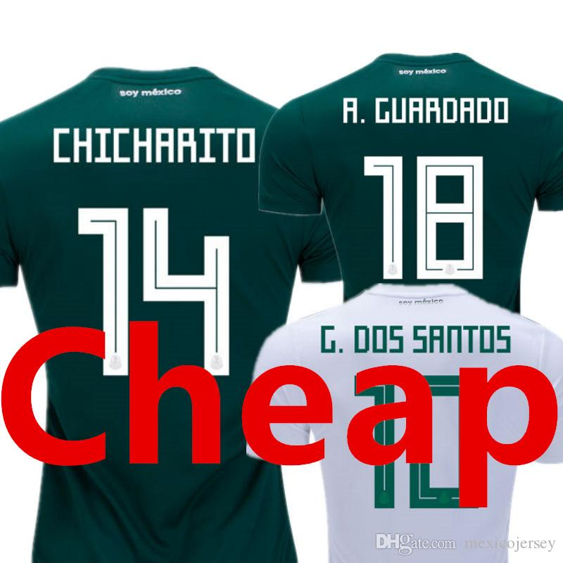 e9a97fcda Mexico Soccer Jersey World Cup 2018 Home Green Away White Camisetas de  Futbol Camisas CHICHARITO Top Thailland National Mens Football Shirt