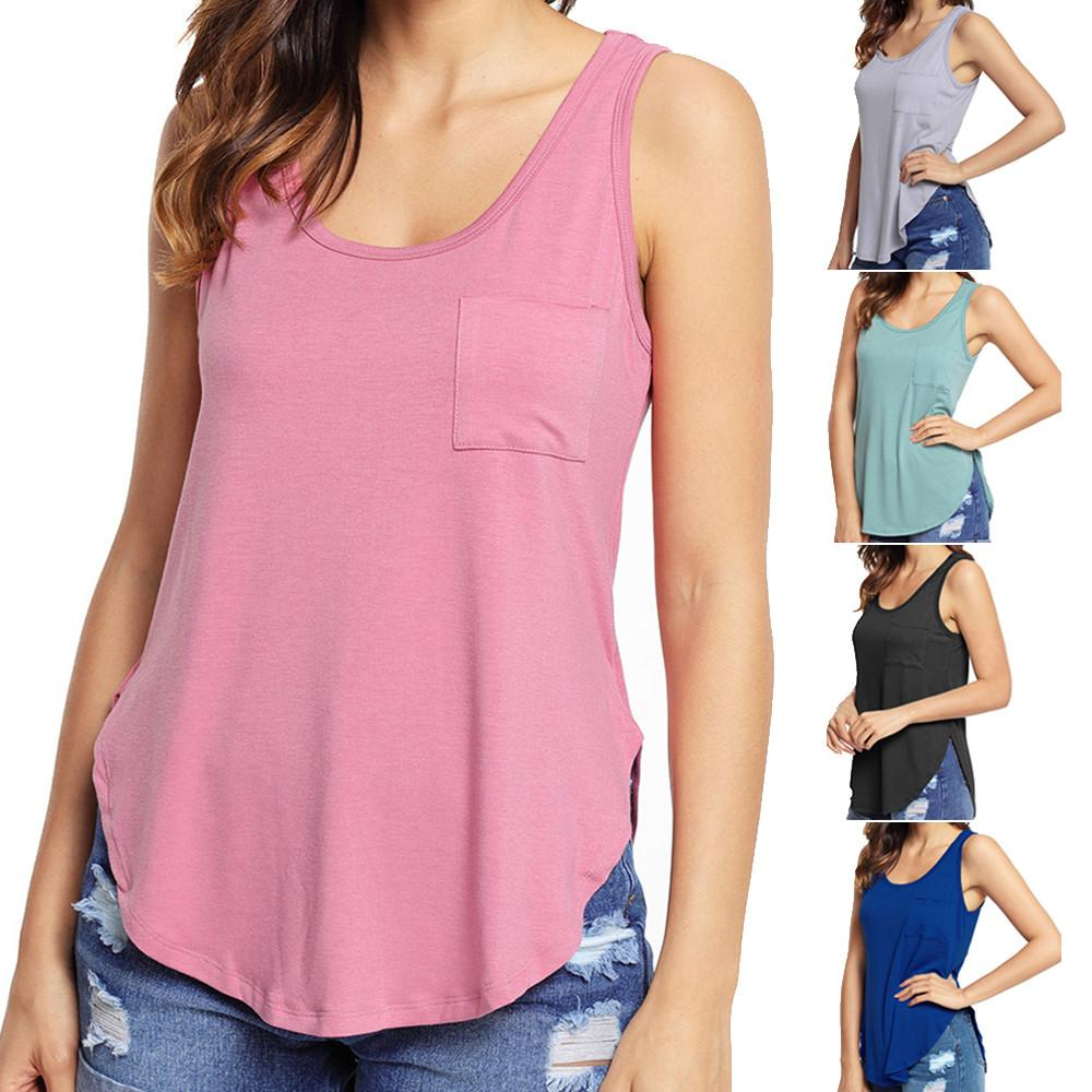 Fashion Women Casual Summer Sleeveless Top Vest Blouse Pocket Ladies Shirt Tops Blouses & Shirts