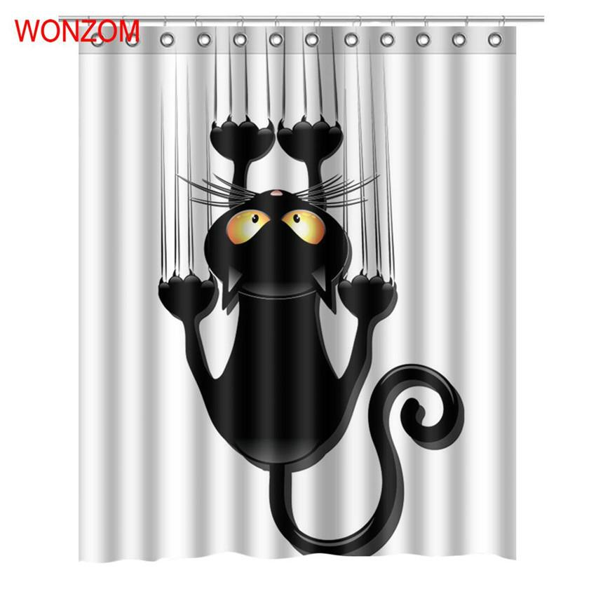 2019 WONZOM Modern Cat Dog Bath Waterproof Curtain 3D Polyester Fabric Shower With 12 Hooks For Mildewproof Bathroom Decor From China Smoke
